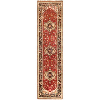 ecarpetgallery Hand-Knotted Serapi Heritage Brown  Wool Rug (2'7 x 9'10)