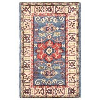 Herat Oriental Afghan Hand-knotted Vegetable Dye Tribal Kazak Wool Rug (2'8 x 4'2)