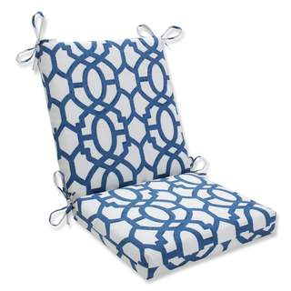 Pillow Perfect Outdoor/ Indoor Nunu Geo Ink Blue Squared Corners Chair Cushion