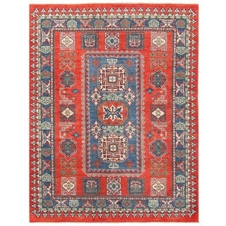 Herat Oriental Afghan Hand-knotted Vegetable Dye Tribal Kazak Wool Rug (5' x 6'6)