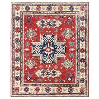 Herat Oriental Afghan Hand-knotted Vegetable Dye Tribal Kazak Wool Rug (7'9 x 9'7)