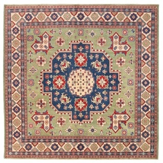 Herat Oriental Afghan Hand-knotted Vegetable Dye Tribal Kazak Wool Rug (9'9 x 9'9)