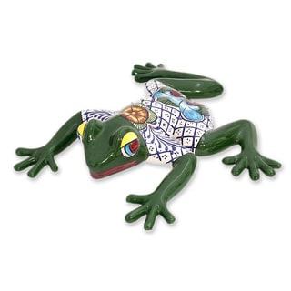 Handmade Ceramic Figurine, 'Festive Frog' (Mexico)