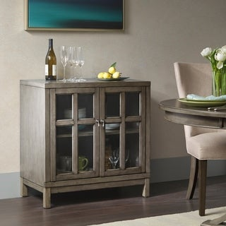 """Madison Park Signature Helena Grey Two Glass Door Credenza - 32""""w x 17""""d x 33""""h"""