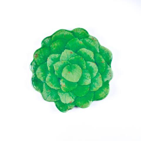 Handmade Melamine Botanical Galax Leaf Dinner Plate(set 4),11 inch Round-Grn (Philippines)