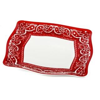Handmade Melamine Bandana dinner plate(set 4),11 inch Square-Red/Wh (Philippines)