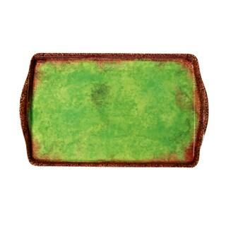 Melamine Italica Medium Tray, 15 inch x 9.5 inch-Green-Brn