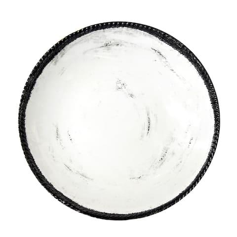 Handmade Melamine Italica Shallow Bowl, 17 inch-Blanca-Gray (Philippines)