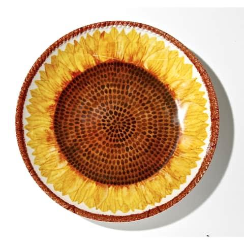 Handmade Melamine Botanical Sunflower Shallow Bowl, 17 inch Round (Philippines)