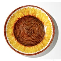 Handmade Melamine Botanical Sunflower Shallow Bowl, 17 inch Round (Philippines)