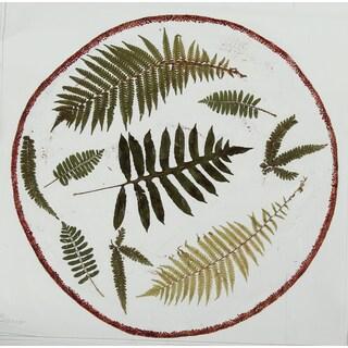 Melamine Botanical Ferns Shallow Bowl, 17 inch Round-cream-Green
