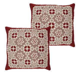 Cecilia Lace and Embroidery Applique Pillow Cover (Set of 2)