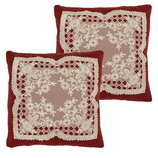 Caisey Lace and Embroidery Applique Throw Pillow Cover (Set of 2)