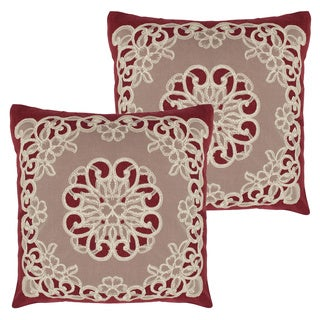 Emily Lace and Embroidery Applique Pillow Cover (Set of 2)