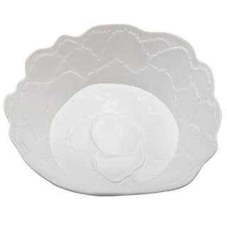 Melamine Botanical Leaf Shallow Bowl 12 Inch X 3 Inch Round White Overstock 14645243