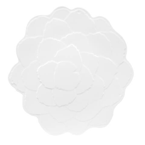 Handmade Melamine Botanical Galax Leaf Dinner Plate(set 4),11 inch Round-White (Philippines)