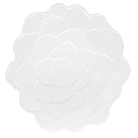 Handmade Melamine Botanical Galax Leaf Platter,16 inch Round-White (Philippines)