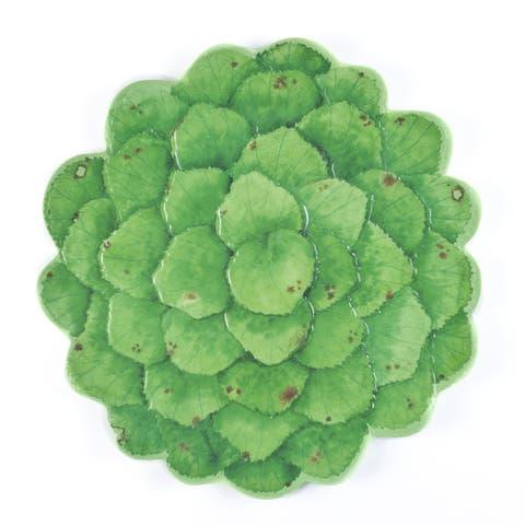 Handmade Melamine Botanical Galax Leaf Platter,16 inch Round-Grn (Philippines)