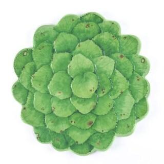 Melamine Botanical Galax Leaf Platter,16 inch Round-Grn