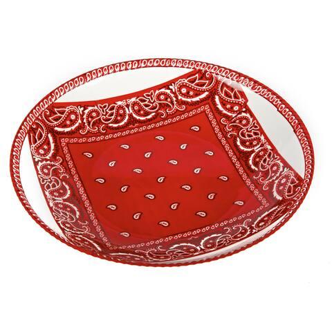 Handmade Melamine Bandana Shallow Bowl,17 inch x 17 inch Round-Red/Wh (Philippines)