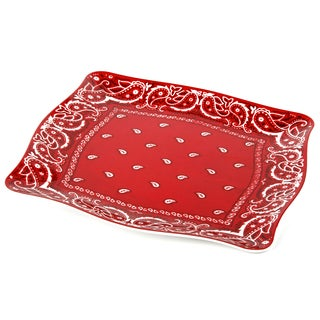 Handmade Melamine Bandana platter,16 inch Square-Red/Wh (Philippines)
