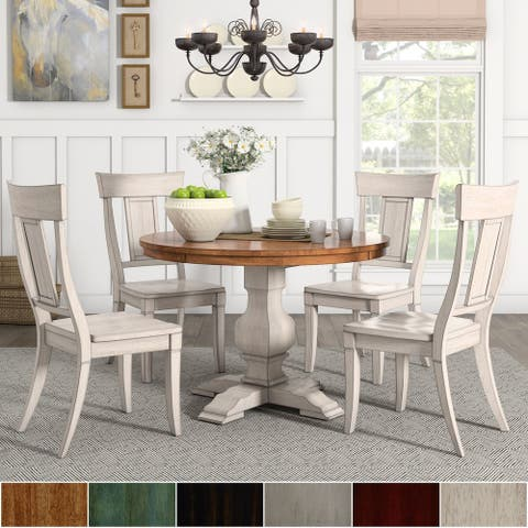 Eleanor Antique White Round Solid Wood Top 5-Piece Dining Set - Panel Back by iNSPIRE Q Classic