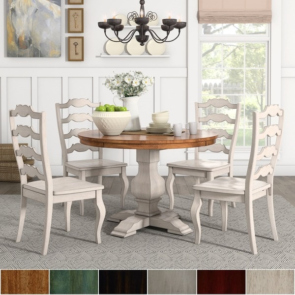 Eleanor Antique White Round Solid Wood Top 5 Piece Dining Set   French  Ladder By