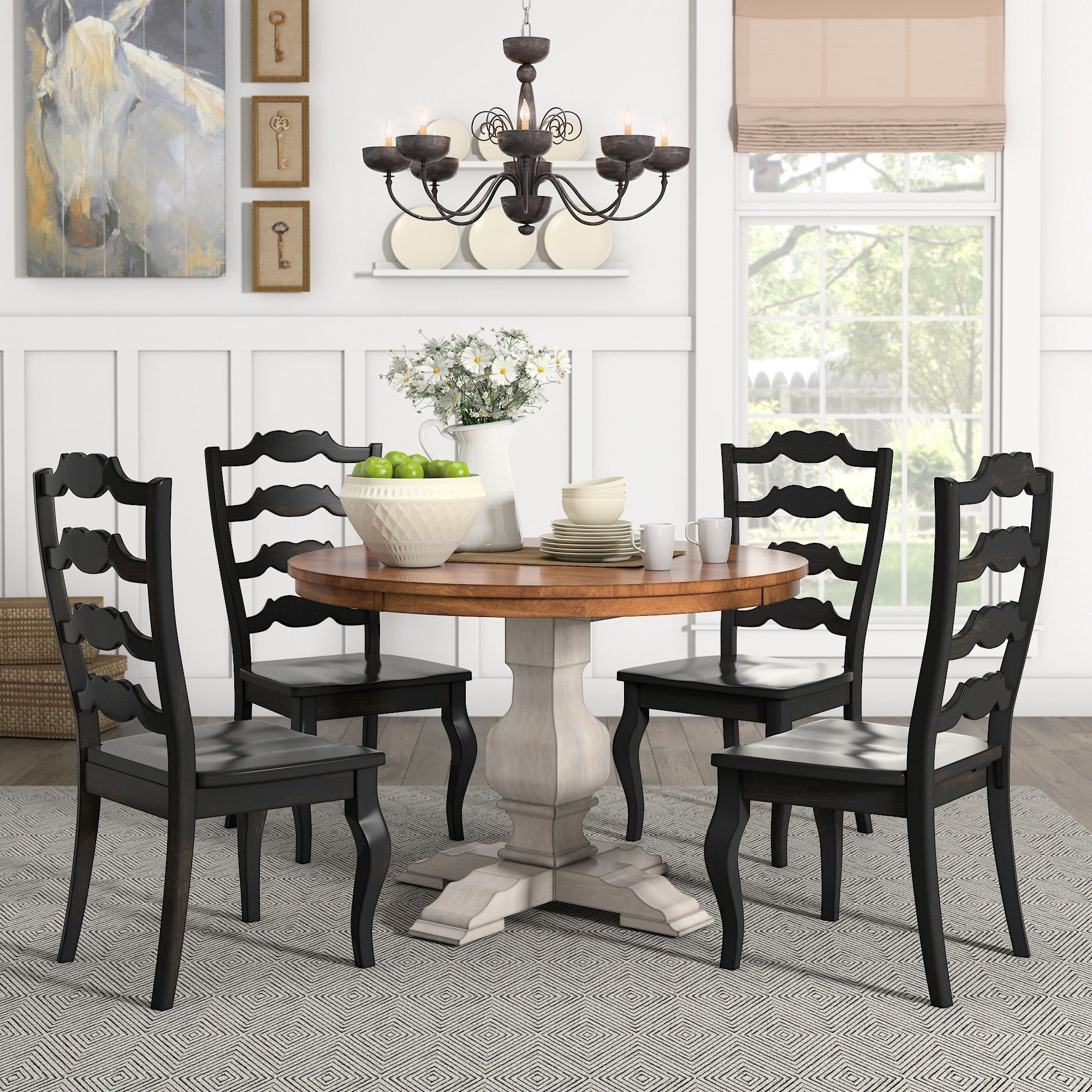 eleanor antique white round solid wood top 5 piece dining set french ladder by ebay. Black Bedroom Furniture Sets. Home Design Ideas