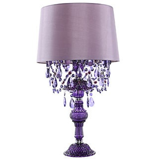 River of Goods Poetic Wanderlust by Tracy Porter Alisal Satin Shade/Pressed Glass Base Cascading Crystal Table Lamp