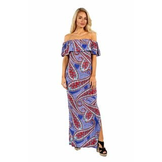 24/7 Comfort Apparel Flower Waves Off the Shoulder Dress