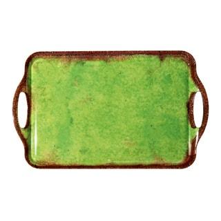 Melamine Italica Large Tray, 19 inch x 11.5 inch-Green-Brn