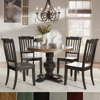 Eleanor Black Round Solid Wood Top 5-Piece Dining Set - Slat Back by iNSPIRE Q Classic
