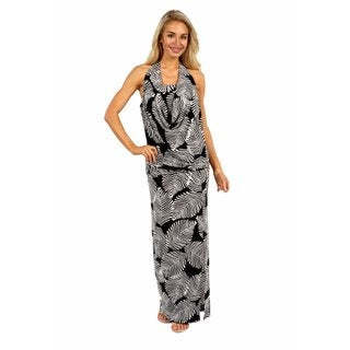 24/7 Comfort Apparel Pretty Palms Cowl Neck Dress