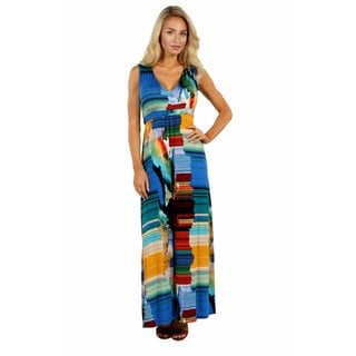 24/7 Comfort Apparel French Watercolors Maxi Dress