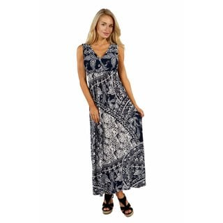 24/7 Comfort Apparel Indigo Seas Maxi Dress
