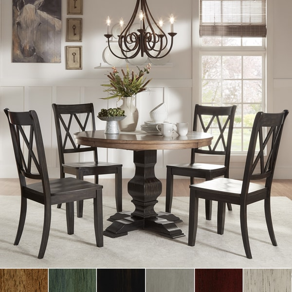 Shop Eleanor Black Round Solid Wood Top 5-Piece Dining Set