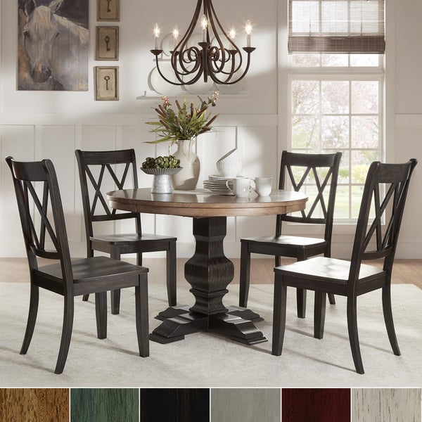 Eleanor Black Round Solid Wood Top 5-Piece Dining Set - X Back by iNSPIRE Q Classic