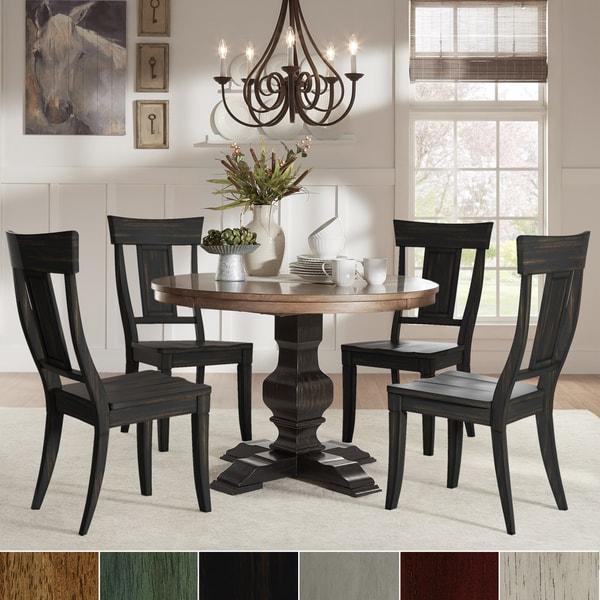 Black Round Dining Set: Eleanor Black Round Solid Wood Top 5-Piece Dining Set