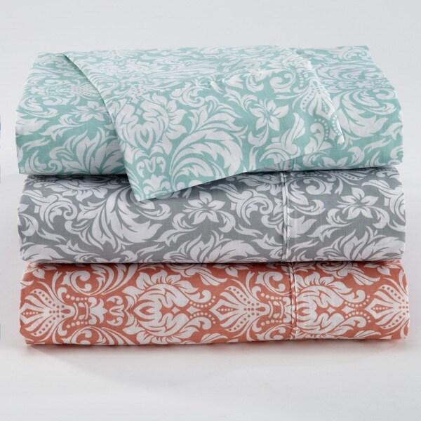 Home Fashion Designs Sinclair Collection Printed 300 Thread Count Cotton Rich Sheet Set