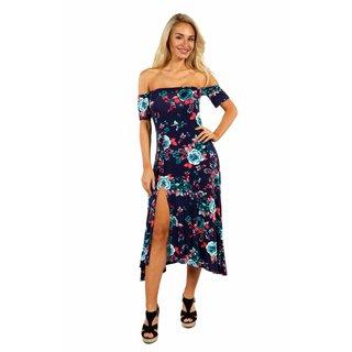 24/7 Comfort Apparel Summer Starlight Off Shoulder Dress