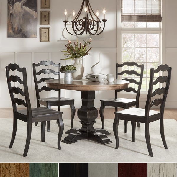 Eleanor Black Round Solid Wood Top 5 Piece Dining Set   French Ladder Back  By