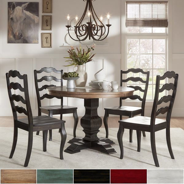 Eleanor Black Round Solid Wood Top 5-Piece Dining Set