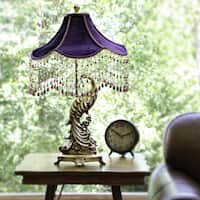 The Curated Nomad Hyde Purple Velvet Peacock Lamp with Goldtone Beaded Trim