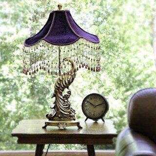 Poetic Wanderlust by Tracy Porter Pluma Peacock Velvet Shade with Beaded Trim and Gold Base Table Lamp