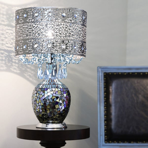 Poetic Wanderlust by Tracy Porter Mattei Jeweled Metal Shade with Mosaic Base Table Lamp