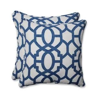 Pillow Perfect Outdoor/ Indoor Nunu Geo Ink Blue 18.5-inch Throw Pillow (Set of 2)