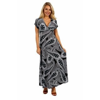 24/7 Comfort Apparel Paisley Passion Maxi Dress