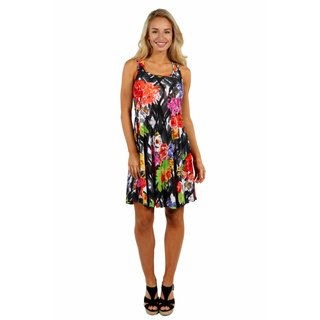24/7 Comfort Apparel Floral Fireworks Mini Dress