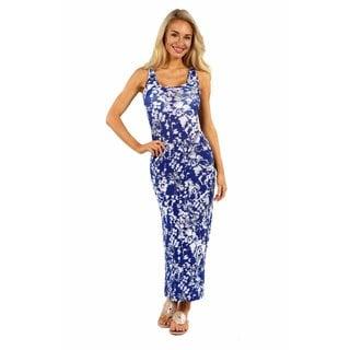 24/7 Comfort Apparel Jungle Blue Maxi Dress