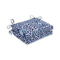 Pillow Perfect Outdoor/ Indoor New Damask  Marine Squared Corners Seat Cushion (Set of 2)